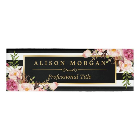 Vintage floral wrapping gold black white stripes name tag zazzle vintage floral wrapping gold black white stripes name tag mightylinksfo