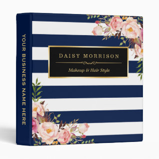 Vintage Floral Wrapping Gold Navy White Striped 3 Ring Binder at Zazzle