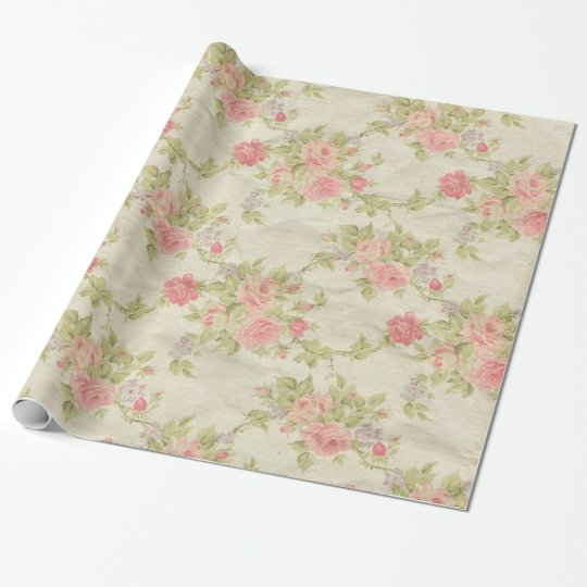 Vintage leather rose look wrapping paper – Wrapping Paper