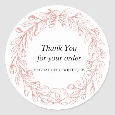 Professional Business Vintage Floral Wreath Custom Business Thank You Classic Round Sticker