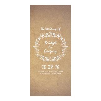 Vintage Floral Wreath Elegant Wedding Programs Custom Rack Card