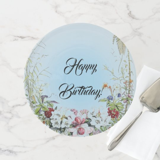 Vintage Floral Wreath Happy Birthday Cake Stand