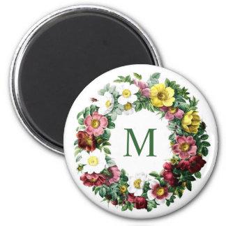 Vintage Floral Wreath Monogram 2 Inch Round Magnet