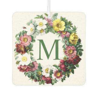 Vintage Floral Wreath Monogram Car Air Freshener