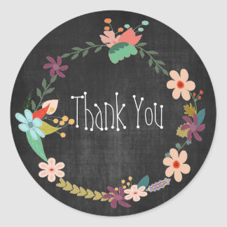 Vintage Floral Wreath Thank You Classic Round Sticker