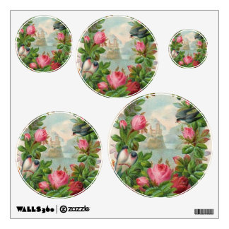 Vintage Floral Wreath Wall Decal