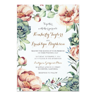 Vintage Floral Wreath Watercolors Fall Wedding Invitation