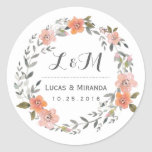 Vintage Floral Wreath Wedding Favor Sticker at Zazzle