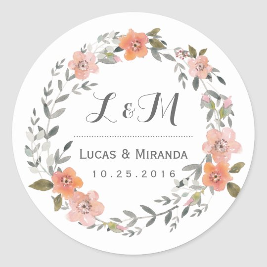 Vintage Floral Wreath Wedding Favor Sticker Zazzle Com