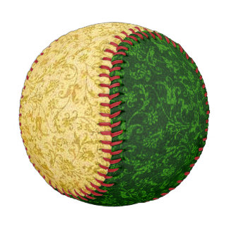 Vintage Floral Yellow and Green Baseball