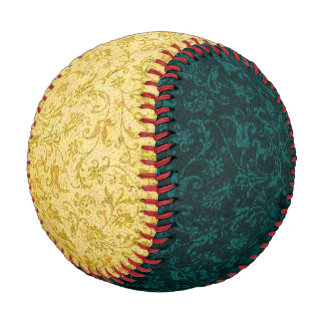Vintage Floral Yellow and Teal Baseball