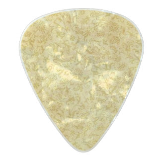 Vintage Floral Yellow Gold Pearl Celluloid Guitar Pick