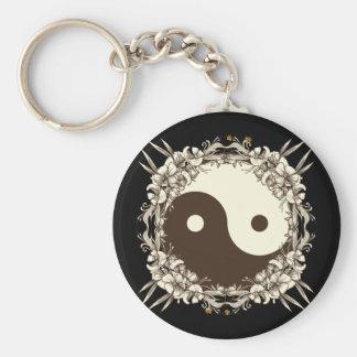 Vintage Floral Yin Yang Key Chain