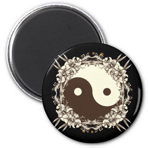 Vintage Floral Yin Yang Magnets