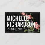 """Vintage Florals Bold Text on Black Business Card<br><div class=""""desc"""">A bold styling of your name or business name is layered with a vintage-style illustration of a rose vine on this black business card template. An eye-catching and stylish effect for a beautiful impression. &#169; 1201AM CREATIVE</div>"""