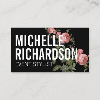 Vintage Florals Bold Text on Black Business Card