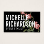 "Vintage Florals Bold Text on Black Business Card<br><div class=""desc"">A bold styling of your name or business name is layered with a vintage-style illustration of a rose vine on this black business card template. An eye-catching and stylish effect for a beautiful impression. &#169; 1201AM CREATIVE</div>"
