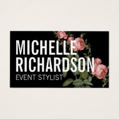 Vintage Florals Bold Text On Black Business Card at Zazzle