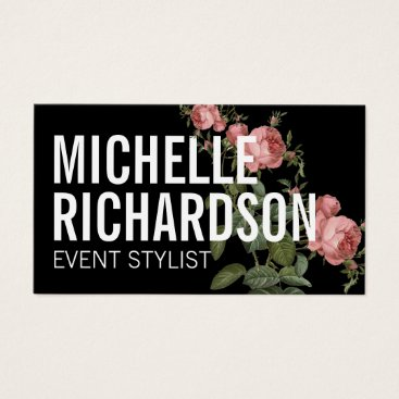Professional Business Vintage Florals Bold Text on Black Business Card