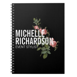 Vintage Florals Bold Text on Black Personalized Notebook