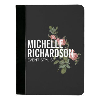 Vintage Florals Bold Text on Black Personalized Padfolio