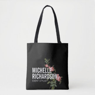 Vintage Florals Bold Text on Black Personalized Tote Bag