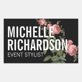 Vintage Florals Bold Text on Black Sticker