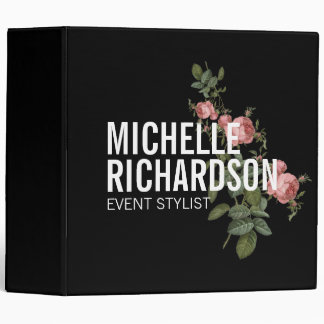 Vintage Florals Bold Text on Personalized Binder