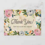 "Vintage Florals | Bridal Shower Flat Thank You<br><div class=""desc"">Say thanks with this elegant and chic Bridal Shower flat thank you card with painted florals on a vintage background.</div>"