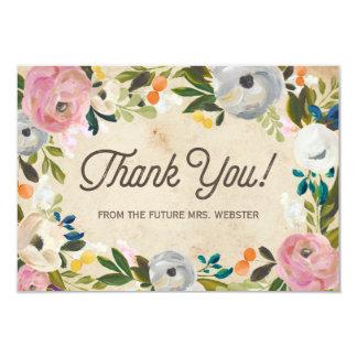 Vintage Florals | Bridal Shower Flat Thank You Card