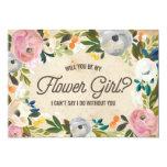 Vintage Florals   Flower Girl 5x7 Paper Invitation Card