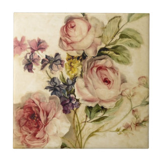 Vintage Florals from 18th Century Ceramic Tile