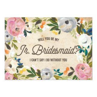 Vintage Florals | Junior Bridesmaid 5x7 Paper Invitation Card