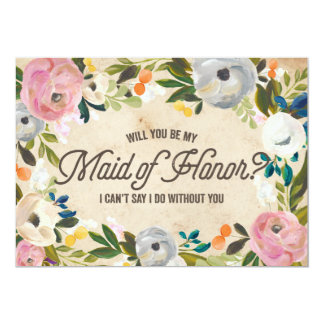 Vintage Florals | Maid of Honor 5x7 Paper Invitation Card