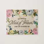 """Vintage Florals   Maid of Honor Puzzle<br><div class=""""desc"""">Asking your bridal party to be part of your special day can be just as exciting as your engagement. Pop the question to your best friends with this Vintage Florals Puzzle that says &quot;Will you be my Maid of Honor? I can&#39;t say I do without you.</div>"""