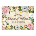 Vintage Florals   Matron of Honor 5x7 Paper Invitation Card