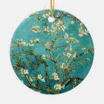 Vintage floreciente Van Gogh floral del árbol de Adorno Navideño Redondo De Cerámica