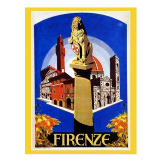 Vintage Florence 1920s Italian travel ad Postcard