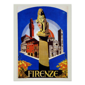 Vintage Florence 1920s Italian travel Poster