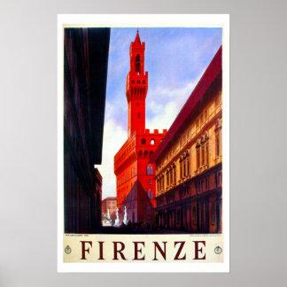 Vintage Florence Italian travel poster