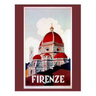Vintage Florence Italian travel poster Postcard