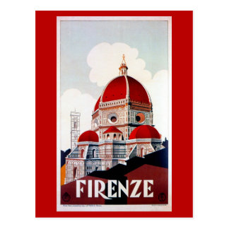 Vintage Florence Italian travel poster Post Cards