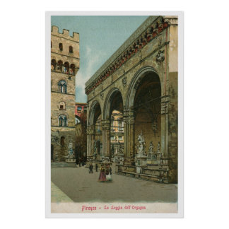 Vintage Florence watercolor Loggia dei Lanzi Print