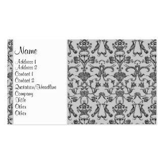 Vintage Florentine Damask (Black) Double-Sided Standard Business Cards (Pack Of 100)