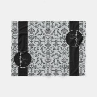 Vintage Florentine Damask (Black) Fleece Blanket