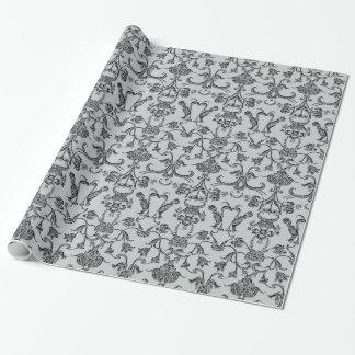 Vintage Florentine Damask (Black) Wrapping Paper