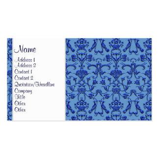 Vintage Florentine Damask (Blue) Double-Sided Standard Business Cards (Pack Of 100)