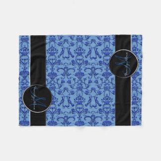 Vintage Florentine Damask (Blue) Fleece Blanket