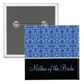 Vintage Florentine Damask (Blue) (Wedding) Button