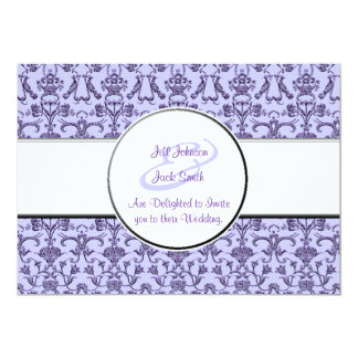 Vintage Florentine Damask (Lilac) (Wedding) 5x7 Paper Invitation Card